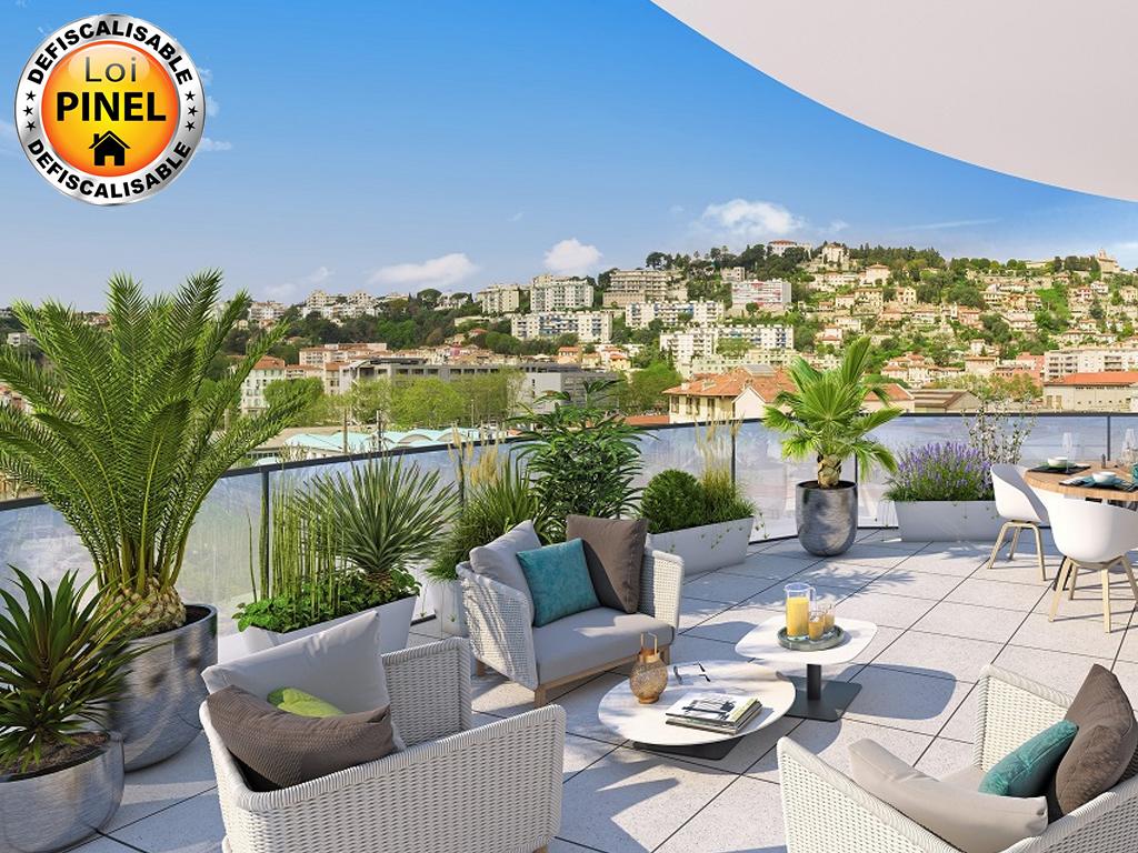 Vue d'une terrasse programme Nice St Roch
