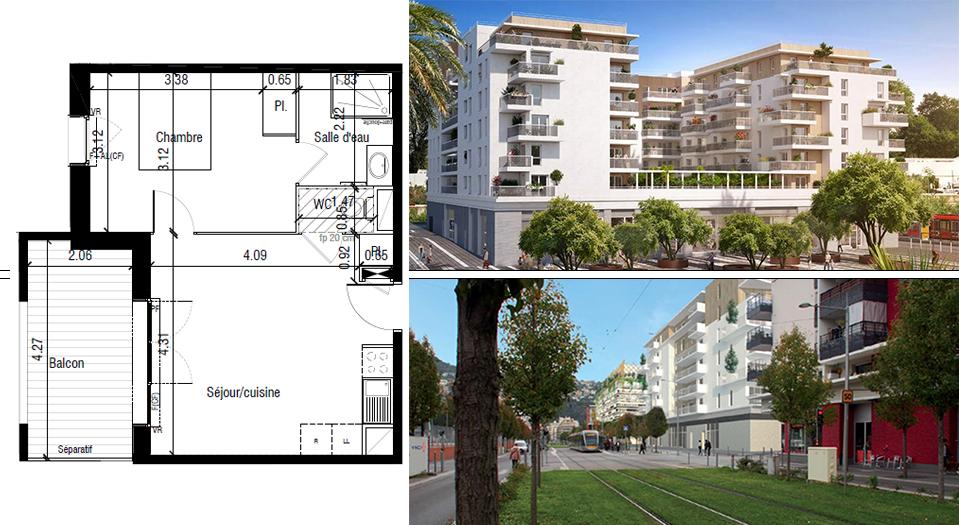 T2 neuf  de 38 m² Nice
