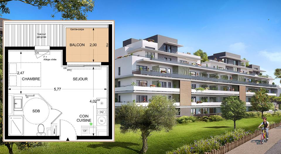 T1 neuf  de 25 m² à Antibes