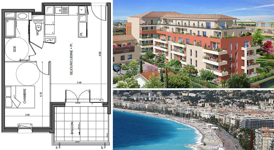 T2 neuf  de 41 m² St Laurent du Var - 3ème étage orienté à l'ouest