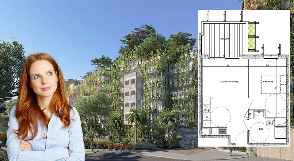 Coquet 2 pièces de 37 m2, Terrasse de 8 m2, Vue dégagée verdure,