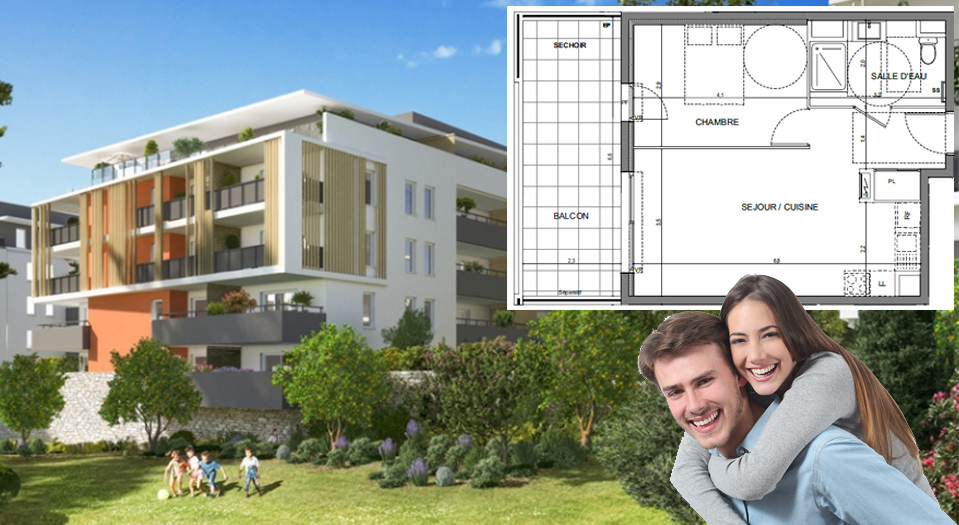 Grand 2 pièces de 45 m2, terrasse de 15 m2, plein SUD,