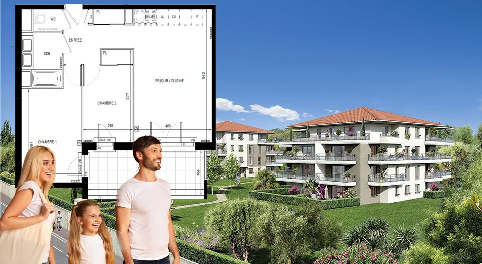 Superbe 3 pièces de 57 m2 avec grande terrasse de 11 m2, plein Sud