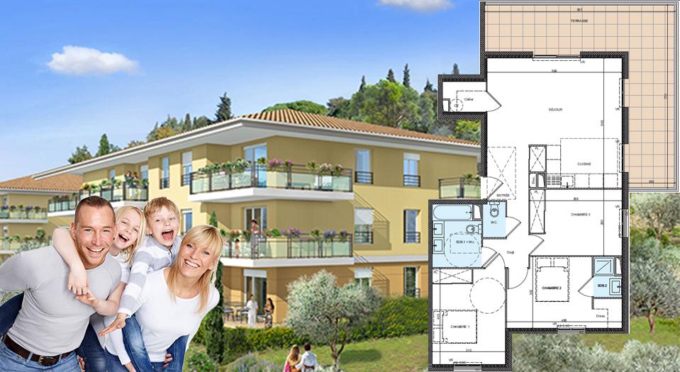 Vaste 4 pièces de 81 m2 en avant dernier étage, au cœur d'une superbe oliveraie