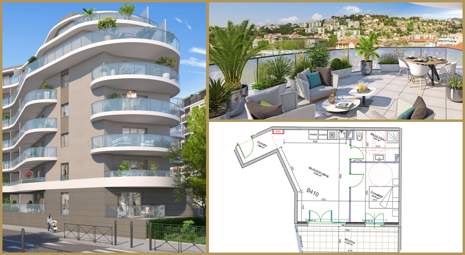 Nice Plan et visuels du T2 neuf en Pinel