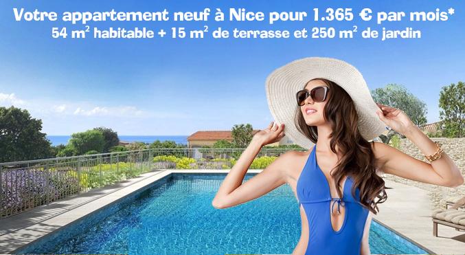Nice : Piscine & vue mer : 54 m², 15 m² de terrasse et jardin privatif 250 m² pour 1.365 €/mois*
