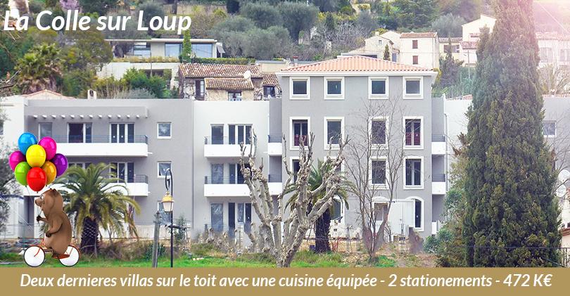 Dernières villas sur le toit neuves à la Colle sur Loup - Cuisine + parkings à 472 K€