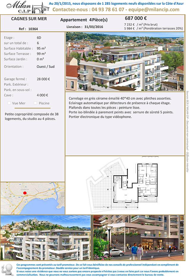 RARE : Appartement neuf à Cagnes-sur-Mer en dernier étage remis sur le marché :