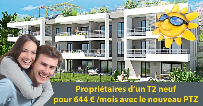 Nouveau PTZ - Devenez propriétaire d'un T2 neuf à Antibes pour 644 € par mois !